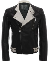 McQ by Alexander McQueen Contrasting Leather Biker Jacket - Lyst