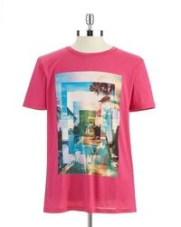 Hugo Boss Pink Graphic Tshirt - Lyst