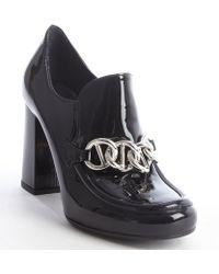 Prada Black Patent Leather Chain Link Oxford Pumps - Lyst