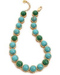 Tory Burch Tacher Short Necklace Turquoise Comboshiny Brass - Lyst