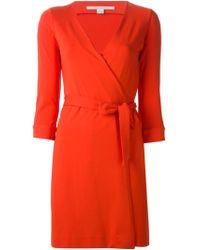 Diane von Furstenberg Orange Wrap Dress - Lyst