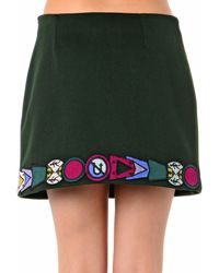 Mary Katrantzou Embroideredbadge Wool Mini Skirt - Lyst