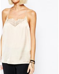 SELECTED - Love Strappy Lace Back Cami - Lyst