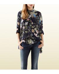 Gucci Flora Knight Print Silk Cape Shirt - Lyst