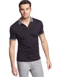 Calvin Klein Solid Collar & Cuffs Polo black - Lyst