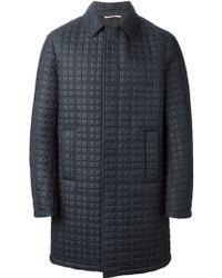 Valentino Blue Quilted Coat - Lyst