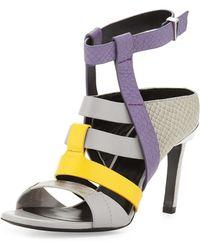Prabal Gurung | Georgia Color-Blocked Leather Sandals | Lyst