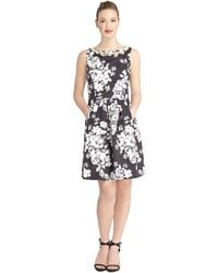 Tahari Embellished Floral Faille Fit and Flare Dress - Lyst