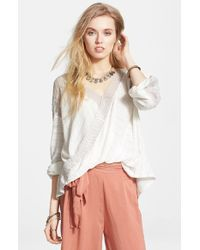 Free People 'Valley City' Mesh Panel Surplice Top - Lyst