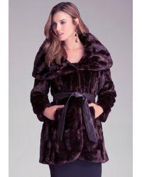 Bebe Faux Fur Wrap Coat - Lyst