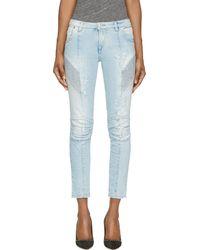 Balmain Blue Distressed Biker Jeans - Lyst