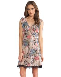 Anna Sui Cabbage Rose Print Dress - Lyst