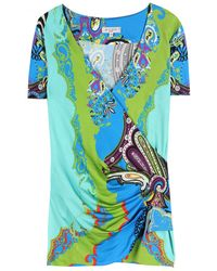 Etro Printed Stretch Top - Lyst