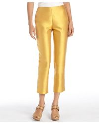 Lafayette 148 New York Marigold Cotton And Silk Woven Side Zip Cropped Pants - Lyst
