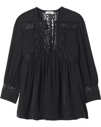 Rebecca Taylor | Long Sleeve Silk & Lace Top | Lyst