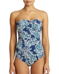 Lauren by Ralph Lauren Paisley One Piece Bandeau Swimsuit - Lyst