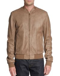 Dolce & Gabbana Laser Cut Leather Bomber Jacket - Lyst