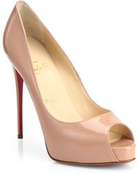Christian Louboutin Patent Leather Peep-Toe Pumps - Lyst