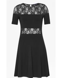 French Connection | Lace-trimmed Jersey Dress | Lyst