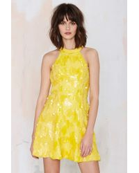 Nasty Gal Dress The Population Anni Sequin Dress - Yellow - Lyst