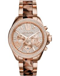 Michael Kors Women'S Chronograph Wren Blush Tortoise And Rose Gold-Tone Stainless Steel Bracelet Watch 42Mm Mk6159 - Lyst