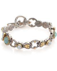 Konstantino Amphitrite Sea Blue Agate, 2Mm-4Mm White Pearl, 18K Yellow Gold & Sterling Silver Heart Link Bra silver - Lyst