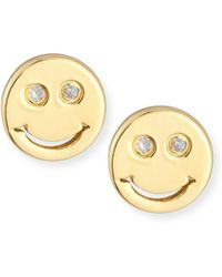 Shy By Sydney Evan - Happy Face Diamond Stud Earrings - Lyst