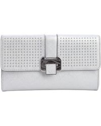 Rebecca Minkoff Silver Leather Studded Flip Lock Coco Clutch - Lyst