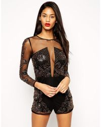 Asos Romper With Mesh And Heavy Floral Embellishment - Lyst