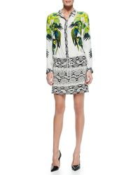 Roberto Cavalli Mixed-print Tie-waist Shirt Dress - Lyst