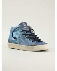 Leather Crown Distressed Midtop Sneakers - Lyst