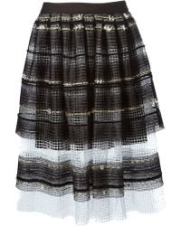 Natargeorgiou - Striped A-line Net Skirt - Lyst