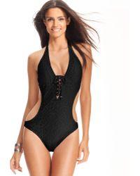 Ralph Lauren - Ralph Lauren Blue Label Swimsuit Halter Crochet Lace Up Onepiece Monokini - Lyst