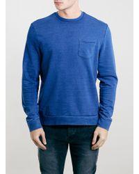 Topman True Indigo Pocket Crew Neck Sweatshirt - Lyst
