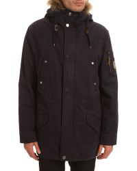 Harris Wilson Kyoto Navy Hooded Parka With Removable Sherpa Lining - Lyst