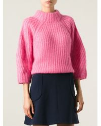 Fendi Boxy Ribbed Sweater pink - Lyst