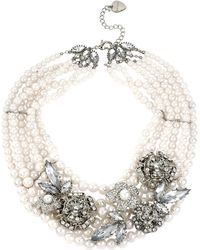 Betsey Johnson Multirow Pearl Crystal Collar Necklace - Lyst