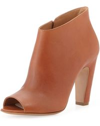 Maison Margiela Leather Peep-Toe Ankle Boot - Lyst