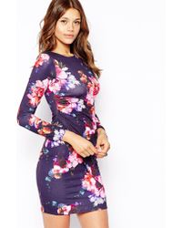 Lipsy All Over Floral Body-Conscious Dress With Wrap Detail - Lyst