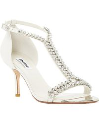 Dune Melodee Jewelled T-Bar Leather Sandals - Lyst