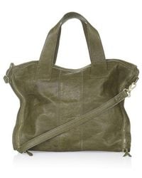 Topshop Green Leather Holdall - Lyst