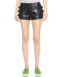 Moschino Cheap And Chic Leather Shorts - Black - Lyst