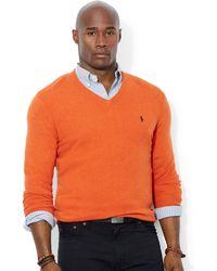 Ralph Lauren Polo Big and Tall Merino Wool V-neck Sweater - Lyst