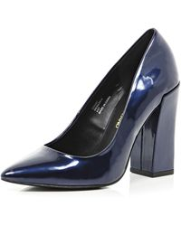 River Island Navy Patent Angular Block Heel Pumps - Lyst