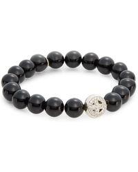 Anzie - Boheme Onyx Bead & Sterling Silver Pavé Peace Charm Bracelet - Lyst