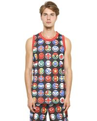 Moschino Smiley Flags Printed Mesh Jersey - Lyst