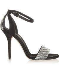 Dolce & Gabbana Crystal Embellished Satin Sandals - Lyst