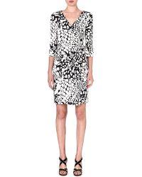 Diane Von Furstenberg New Julian Silk Wrap Dress Fthr Leopard Black - Lyst