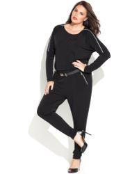 Michael Kors Plus Size Zip Sleeve Belted Jumpsuit - Lyst