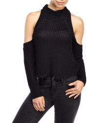 Olivaceous - Cold Shoulder Fisherman'S Rib Sweater - Lyst